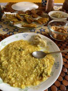 Bengali soul food-Khichari and Pumpkin flower fry (fritters)