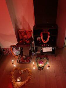 Prayer altar-with flowers